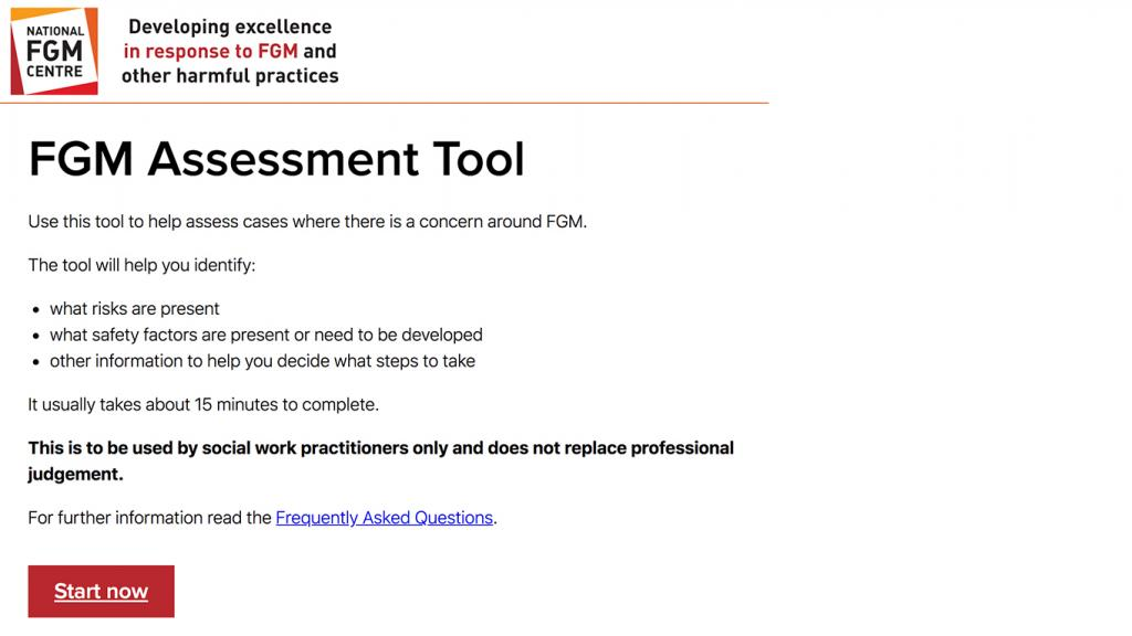 Screenshot of FGM assessment tool start page