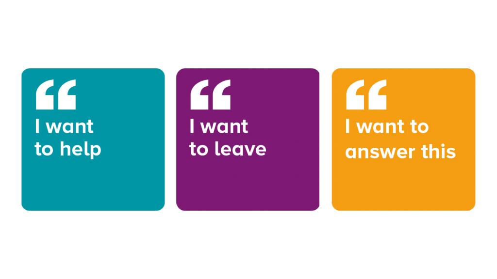 signal cards saying: I want to help, I want to leave, I want to answer this