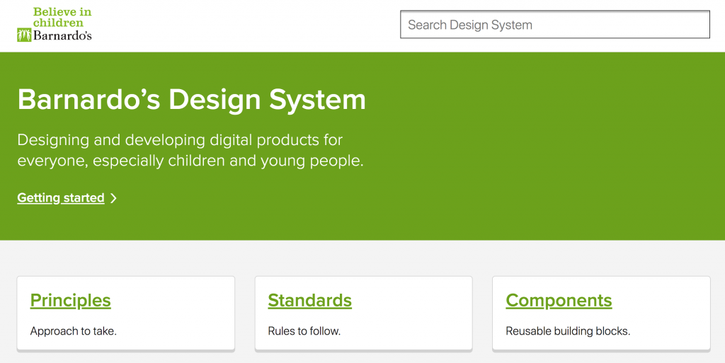 Barnardo's design system screenshot