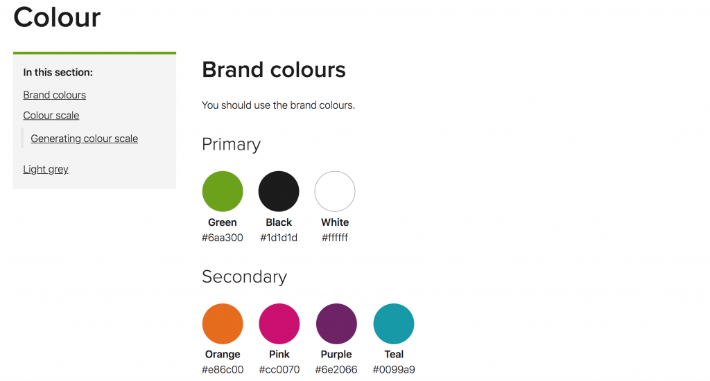 Screenshot of design system brand colours